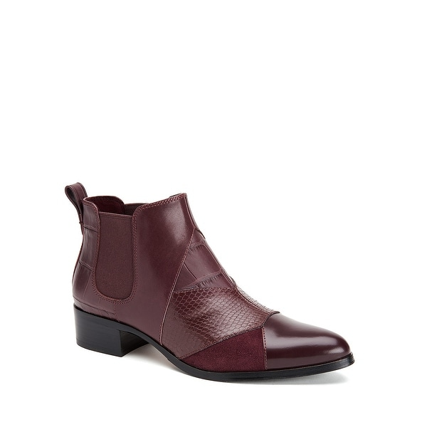 Coach Warm Suffolk Patchwork Pointed Toe Leather Bootie - 7 b(m)
