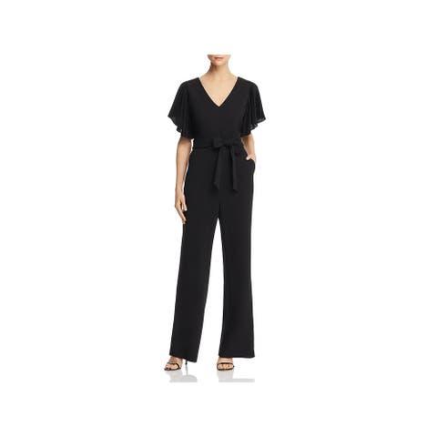 Eliza J Womens Jumpsuit Flutter Sleeve Pleated - Black
