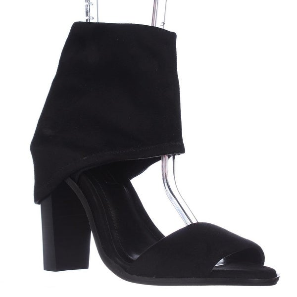 BCBGeneration Cabos Ankle Wrap Peep-Toe Sandals, Black Microsuede