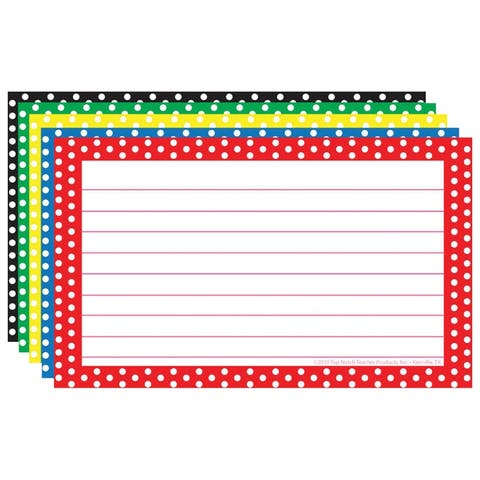 Border Index Cards 3X5 Polka Dot