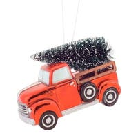 """Pack of 4 Red and Green Truck with Christmas Tree Ornaments 8.25"""""""