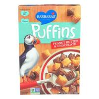 Barbara's Bakery Puffins Cereal - Peanut Butter and Chocolate - Case of 12 - 10.5 oz.