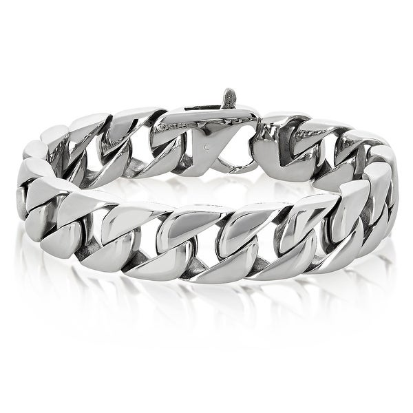 Stainless Steel Polished Curb Chain Bracelet - 8.5 Inches (15 mm Wide). Opens flyout.
