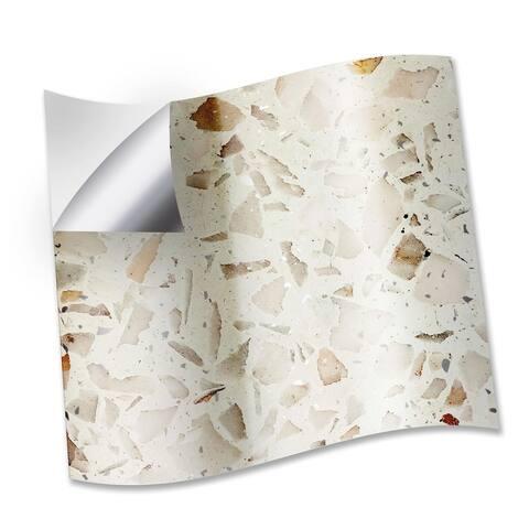 Walplus Marble Terrazzo Metallic Silver Wall Peel and Stick Backsplash Tile Sticker