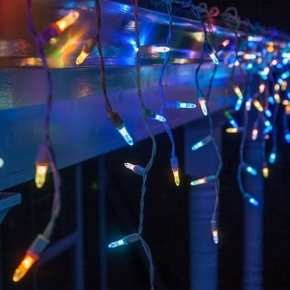 """Wintergreen Lighting 69423 LED M5 Color Change Icicle Lights with 6"""" Spacing and White Wire"""