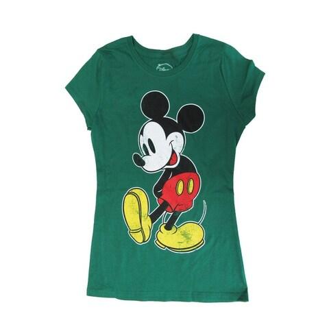 Disney Womens Green Mickey Mouse Graphic Print Short Sleeve T-Shirt