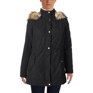 Jones New York Womens Parka Coat Winter Faux Fur Lined