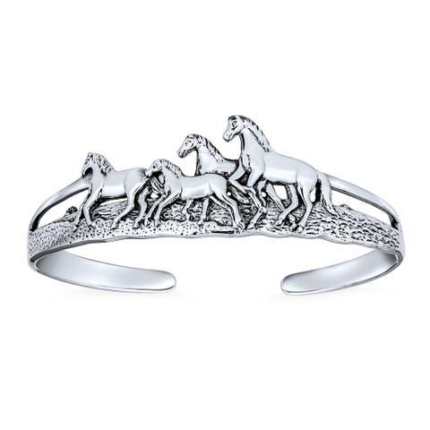 Wild Horses Equestrian Cuff Bracelet Men Solid 925 Sterling Silver