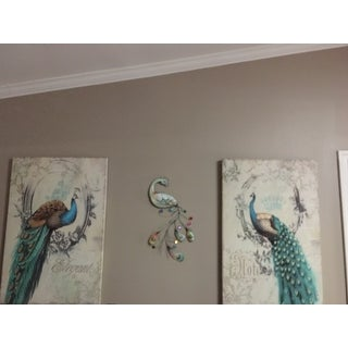 Handmade Peacock with Jewelled Tail Metal Art