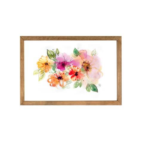 Flower Water Color Wood Framed Art Print