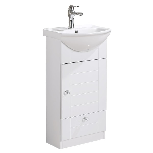 Small Bathroom Vanity with Cabinet, Faucet and Drain White China Sink