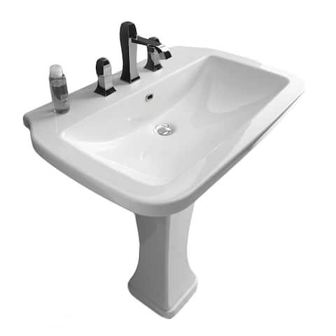 "WS Bath Collections Nova 75C 29-1/2"" Ceramic Pedestal Bathroom Sink - White"