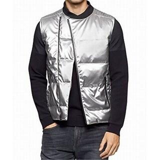Calvin Klein NEW Silver Metallic Mens Size Large L Puffer Vest