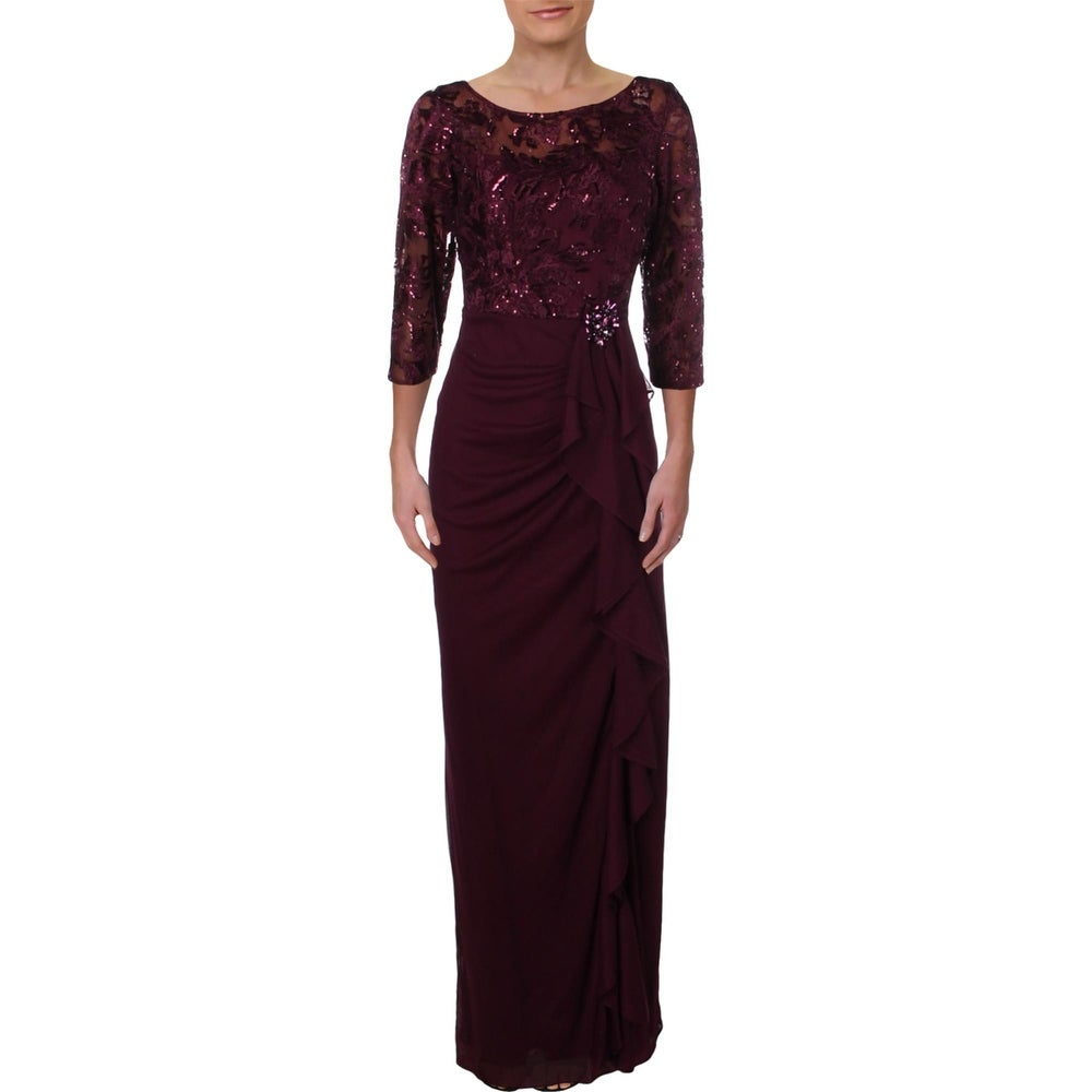 Alex Evenings Womens Formal Dress Embroidered Ruffle