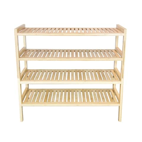 2 Tier Slatted Stackable Solid Bamboo Shoe Rack