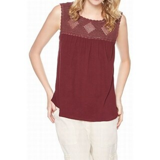Sanctuary NEW Purple Women's Size XS Lace Knit Crinkled Tank Cami Top