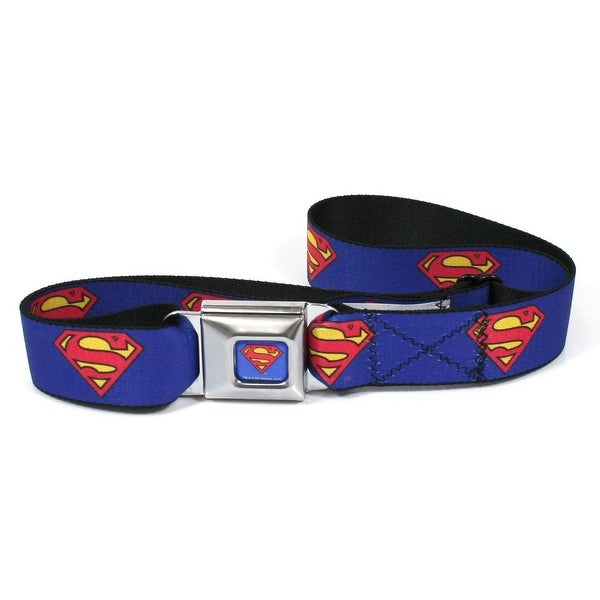 Superman Logo Blue Seatbelt Belt-Holds Pants Up