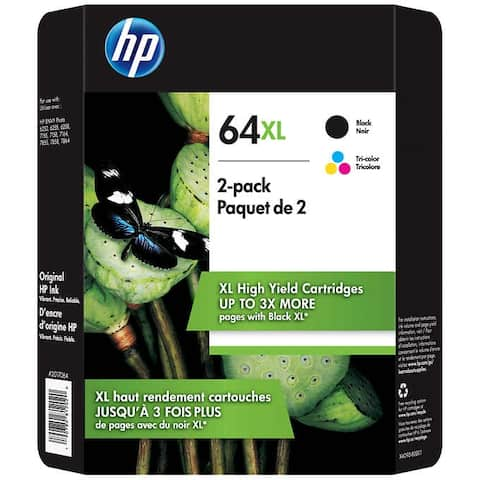 HP 64XL High Yield Ink Cartridge, Black & Tri-Color, 2-pack