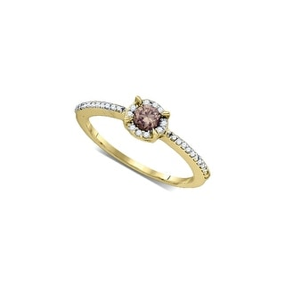 10k Yellow Gold Cognac-brown Colored Round Diamond Solitaire Bridal Wedding Engagement Ring 1/3 Cttw - Brown/White