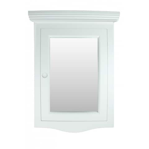 Corner White Wall Mount Medicine Cabinet Recessed Door Fully Pre-Assembled Hardware Included