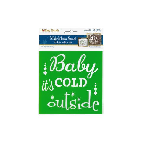 Px746a multicraft stencil 6x6 holiday baby its cold