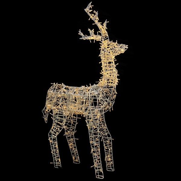 "Shop 60"" LED Lighted Upright Standing Reindeer Outdoor Christmas Decoration - White - Free Shipping Today - - 25720201"