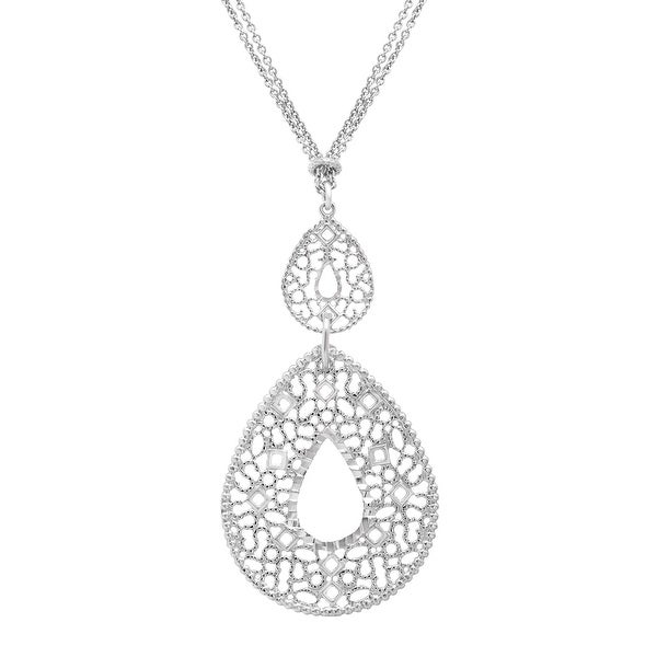 Open Mosaic Double Teardrop Necklace in Sterling Silver - White