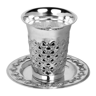 "Silver Plated Kiddush Cup Set Cup 3"" Plate  5"" Bubbles Design"