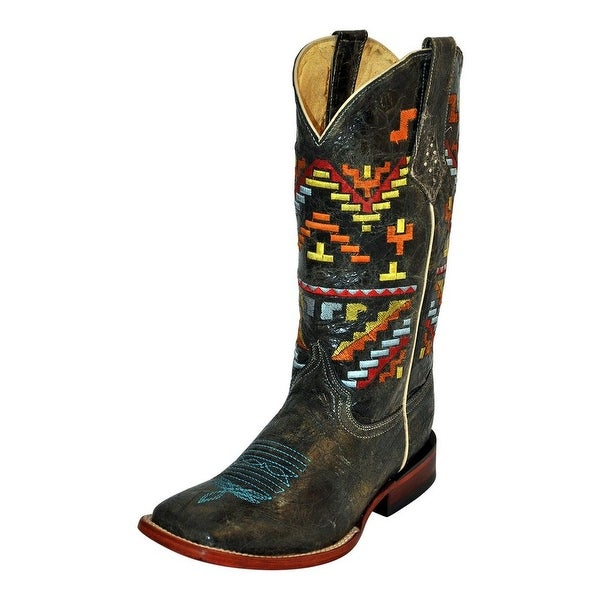 Ferrini Western Boots Womens Aztec Cowgirl S Toe Teal