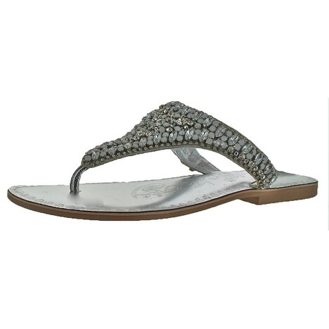 Naughty Monkey Ace Women's Leather Embellished T-Strap Slide Sandals  Rhinestone - Free Shipping On Orders Over $45 - Overstock.com - 25968406
