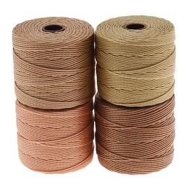 BeadSmith Super-Lon (S-Lon) Cord - Warm Neutrals Mix - Four 77 Yard Spools /Size 18 Cord