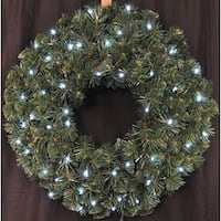 Christmas at Winterland WL-GWSQ-03-LCW-BAT 3 Foot Pre-Lit Battery Operated Pure White LED Sequoia Wreath Indoor / Outdoor