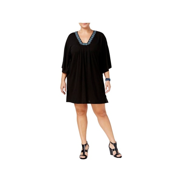 97e2e5d8ed79a Shop Dotti Womens Plus Jeweled Flutter Dress Swim Cover-Up - Free Shipping  On Orders Over  45 - Overstock - 22022472