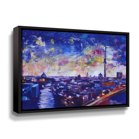 Berlin Impressive Skyline At Night With Stars Gallery Wrapped Floater-framed Canvas