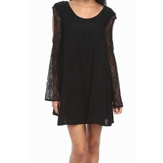 Minkpink NEW Black Womens XS Stella Lace Cold-Shoulder Shift Dress