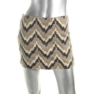 Zara Trafaluc Womens Beaded Chevron Mini Skirt