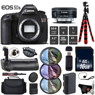 Canon EOS 5DS R DSLR Camera With 24mm f/2.8 STM Lens + Professional Battery Grip + Tripod + Card Reader Bundle - Intl Model