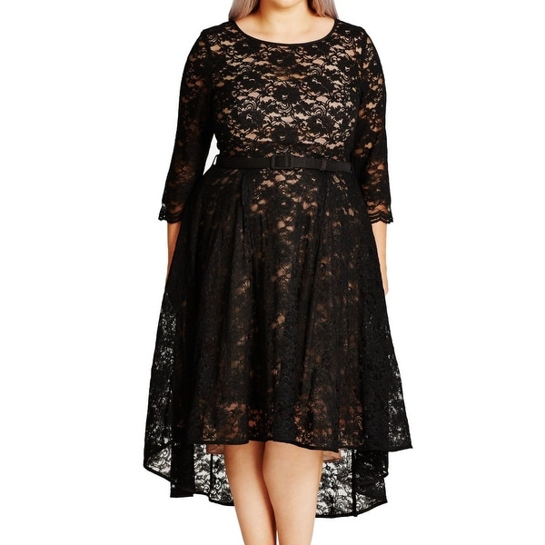 CITY CHIC Black Womens Size 20W Plus Belted Lace A-Line Dress