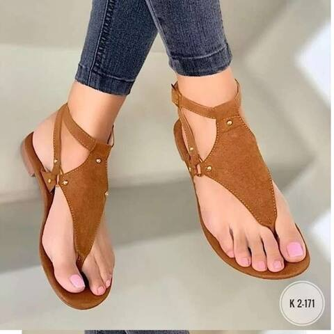 Summer Plus Size Casual Flat Flip Flops Strap Buckle Sandals Women