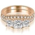 1.65 cttw. 14K Rose Gold Lucida Three-Stone Princess Cut Bridal Set - Thumbnail 0