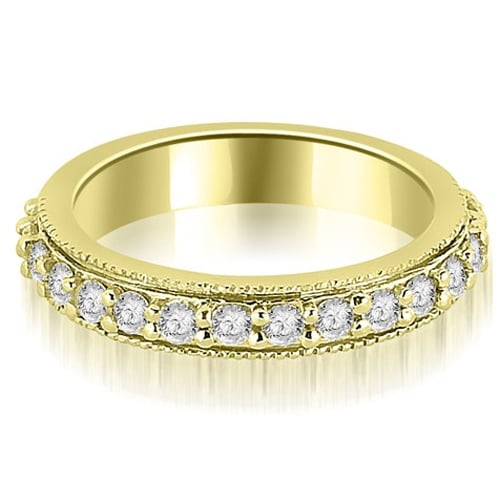 0.80 cttw. 14K Yellow Gold Round Cut Eternity Diamond Wedding Band