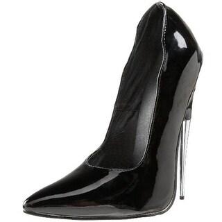 Devious Womens Scream Patent Pointed Toe Pumps - 5 medium (b,m)