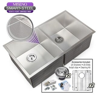 """Miseno MSS3218SR5050E 32"""" Undermount Double Basin Stainless Steel Kitchen Sink with 50/50 Split and Embossed SmartSteel Finish -"""