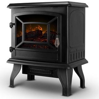 "DELLA 17"" Freestanding Portable Electric Fireplace Stove 1400W Infrared Quartz Realistic 3D Flame Firebox w/ Logs Heater"