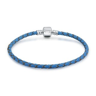 Bling Jewelry Blue Braided Leather Cord Barrel Clasp Bracelet .925 Sterling Silver