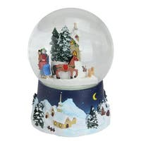 "6.5"" Musical and Animated Christmas Villiage Winter Scene Rotating Water Globe Dome - BLue"