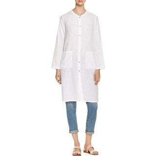 Eileen Fisher Womens Jacket Linen Mandarin