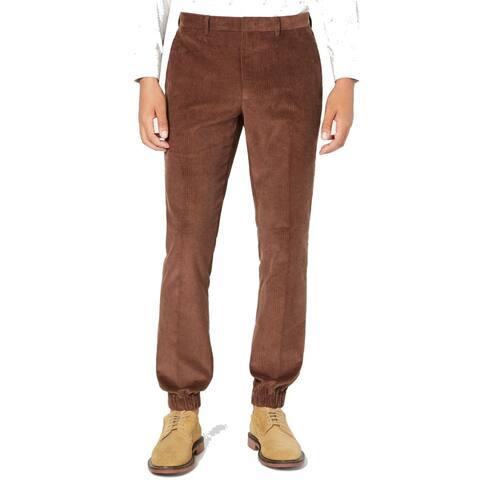 Tallia Mens Pants Brown Size 34X30 Corduroys Stretch Solid Slim Fit