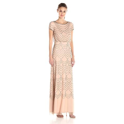 Adrianna Papell Women's Short Sleeve Blouson Beaded Gown,, Taupe/Pink, Size 10.0 - 10