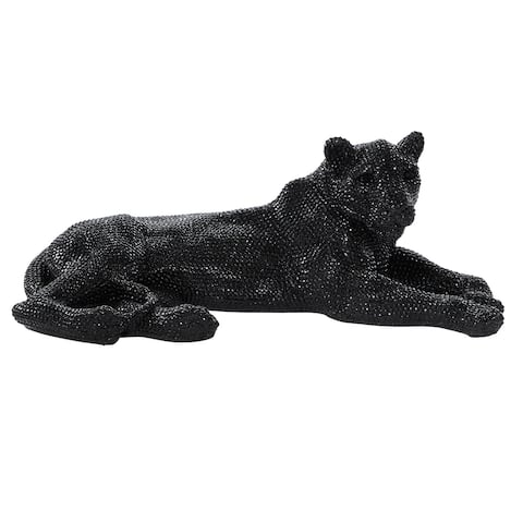 Glam Black Lying Panther Table Decor and Display - 39 x 19 x 14